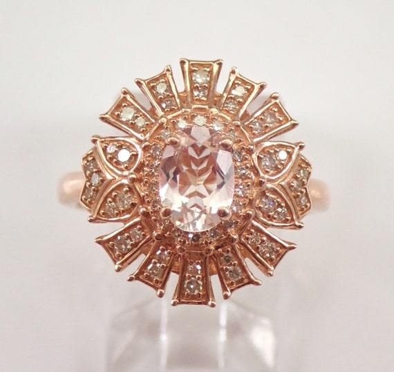 Morganite and Diamond Engagement Ring Unique Design Rose Gold Size 7 FREE SIZING