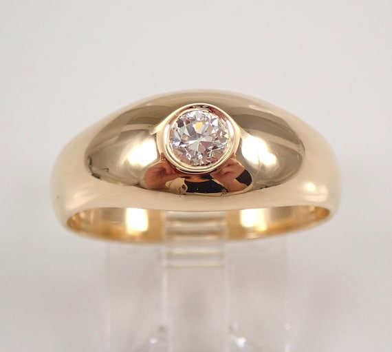 Antique Vintage 14K Yellow Gold Old Miner Diamond Gypsy Ring Solitaire Engagement Ring Band Size 8.25