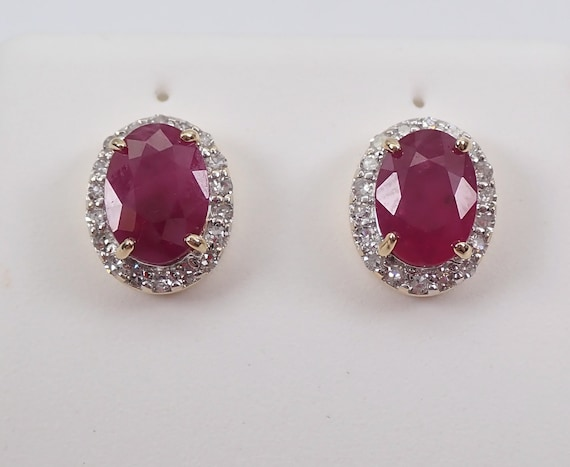 Ruby and Diamond Stud Earrings Halo Studs Yellow Gold July Birthstone 1.70 ct