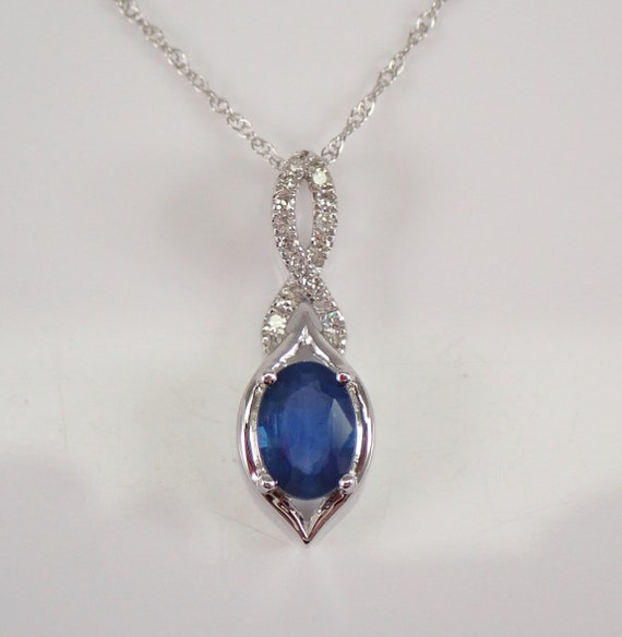 "Diamond and Sapphire Pendant Necklace 14K White Gold 18"" Chain Wedding Gift September Birthstone"