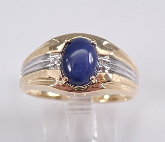 Yellow and White Gold Blue Star Sapphire and Diamond Engagement Pinky Ring 8