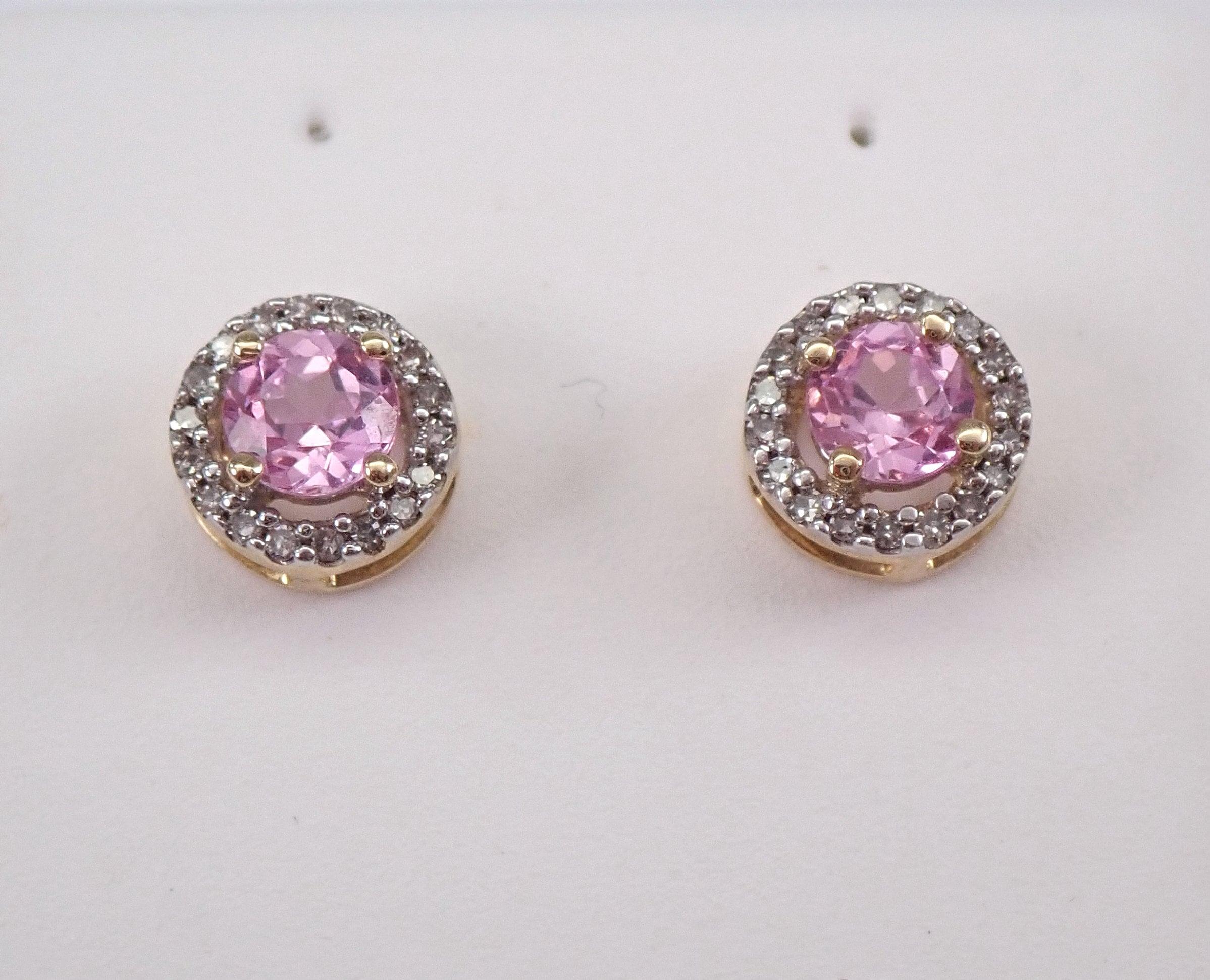 14K Yellow Gold Diamond /& Oval Sapphire September Stone Post Earrings