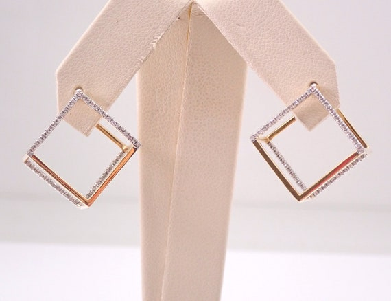 18K Yellow Gold SQUARE CUBE Diamond Hoop Earrings Diamond Hoops In and Out