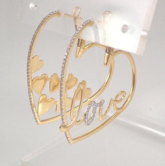 18K Yellow Gold LOVE HEART Diamond Hoop Earrings One of Kind Hoops