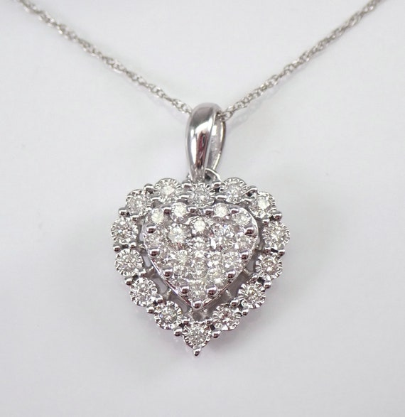 "White Gold 1/2 ct Diamond Heart Cluster Pendant Necklace 18"" Chain Wedding Gift"