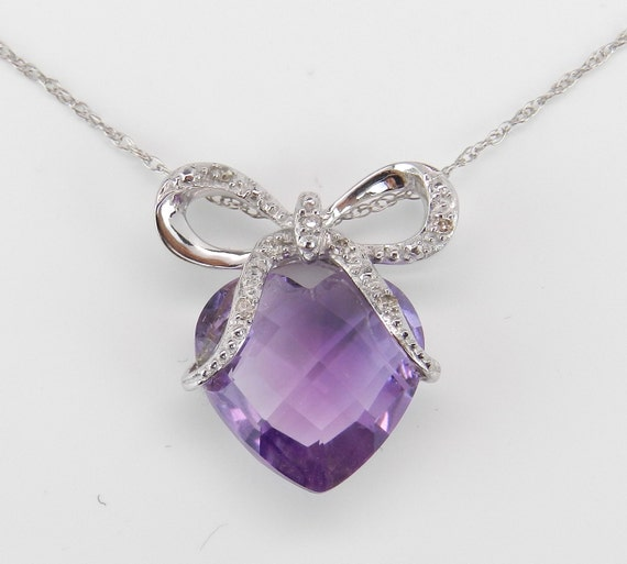 "Amethyst Heart and Diamond BOW TIE Pendant Necklace 14K White Gold 18"" Chain"