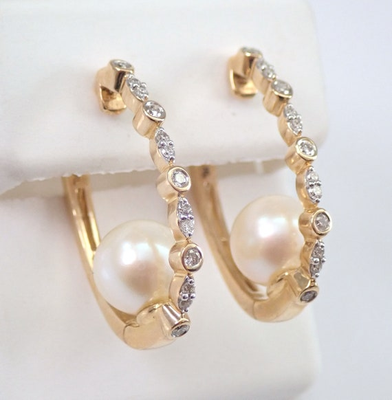 Pearl and Diamond Unique Hoop Earrings Yellow Gold June Birthstone Wedding Gift
