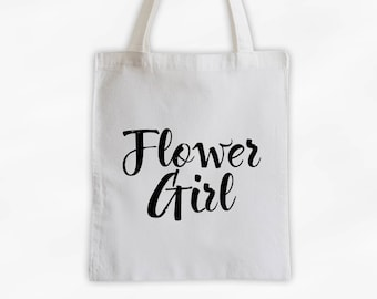 Flower Girl Cotton Canvas Tote Bag - Custom Wedding Party Gift, Wedding Day Kit Bag, Little Girls Tote (3001)