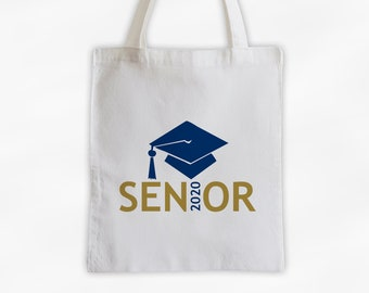 Senior Class of 2019 Canvas Tote Bag with Graduation Cap in Navy Blue and Gold - Custom Travel, Overnight, Sports, Book Bag - Reusable Tote