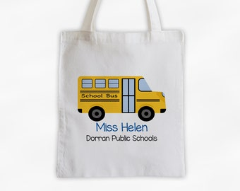 School House Bus Drivers Tote Bag - Cotton Canvas Personalized Gift for Transportation, Teacher, Professor, Educators, School Employees