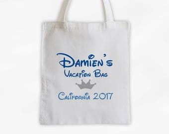 Vacation Bag with Crown Canvas Tote Bag - Custom Travel Bag for Family Vacation, Personalized Royal Blue and Gray Boys Reusable Tote (3002)