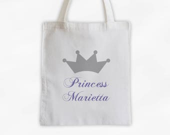 Princess Crown and Script Name Cotton Canvas Personalized Tote Bag - Custom Gift in Light Gray and Purple  (3009)
