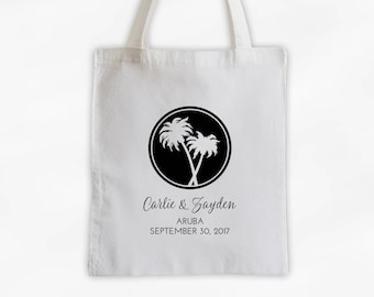 Destination Wedding Cotton Canvas Tote Bag with Palm Trees - Personalized Wedding Welcome Beach Vacation Travel Bag in Black (3018)