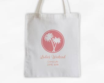 Girls Weekend Cotton Canvas Tote Bag with Palm Trees - Personalized Destination Wedding Beach Travel Bag in Coral Pink and Orange (3018)