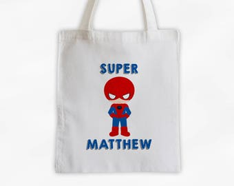Superhero Canvas Tote Bag - Spider Kid Personalized Comic Book Travel Overnight Bag for Boys in Blue - Reusable Tote (3038)