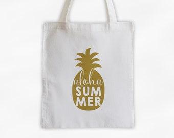Aloha Summer Pineapple Cotton Canvas Tote Bag - Hawaiian Beach Vacation Travel Bag in Gold