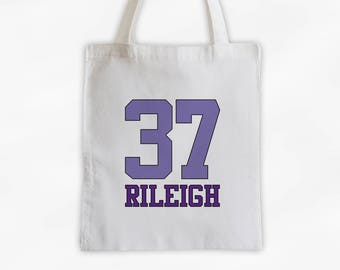 Athlete Name and Number Cotton Canvas Tote Bag - Team Colors Personalized Sports Bag in Shades of Purple (3032)