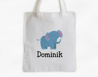 Personalized Elephant Canvas Tote Bag - Custom Travel Overnight Bag for Kids with Jungle Zoo Animal - Reusable Tote (3004)