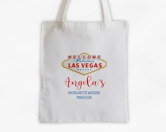 Las Vegas Bachelorette Party Cotton Canvas Tote Bag - Personalized Girl's Weekend Travel Bag in Gold and Red (3034)