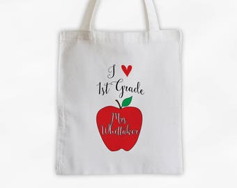 Love to Teach Apple Teachers Tote Bag Cotton Canvas - Personalized Gift for Teacher, Professor, Educators, Daycare Provider (3007)