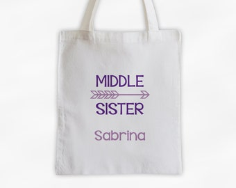 Middle Sister Arrow Cotton Canvas Personalized Tote Bag - Custom Birth Order Siblings Gift in Shades of Purple