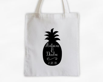 Personalized Pineapple Wedding Cotton Canvas Tote Bag - Destination Wedding Beach Vacation Travel Bag in Black