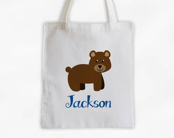 Personalized Bear Canvas Tote Bag - Forest Animal Custom Travel Overnight Bag - Reusable Tote (3042)