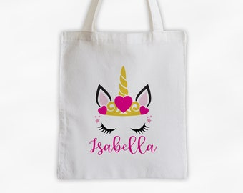 Unicorn with Heart Crown Personalized Canvas Tote Bag - Cute Animal Custom Travel Overnight Bag - Reusable Tote with Princess Unicorn Face