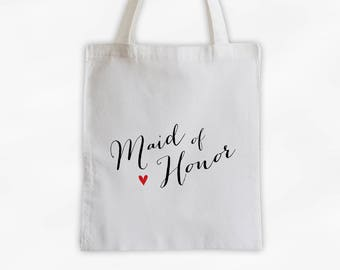 Maid of Honor Heart Cotton Canvas Tote Bag - Custom Wedding Party Gift, Wedding Day Kit Bag, Bridal Party Honor Attendant Tote (3013)