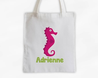 Personalized Sea Horse Canvas Tote Bag - Sea Animal Custom Travel Overnight Bag for Boys or Girls - Ocean Reusable Tote (3045)