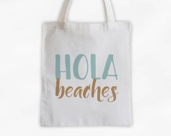 Hola Beaches Cotton Canvas Tote Bag - Beach Vacation Travel Bag in Sea Green and Tan (3015)