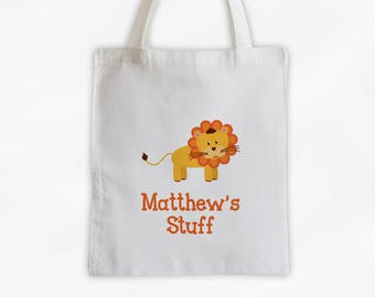 Personalized Lion Canvas Tote Bag - Custom Travel Overnight Safari Bag for Kids in Orange - Reusable Tote (3004)