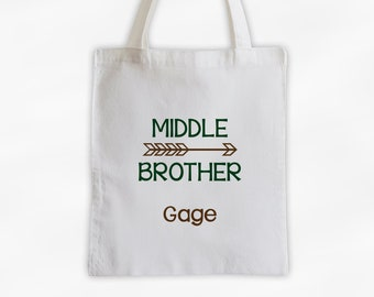 Middle Brother Arrow Cotton Canvas Personalized Tote Bag for Siblings - Custom Gift in Dark Green and Brown