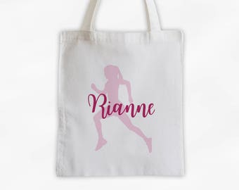 Runner Girl Cotton Canvas Personalized Tote Bag - Women's Sports Training Bag in Light Pink and Hot Pink (3047)