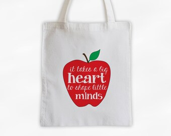 Big Heart Little Minds Teachers Tote Bag with Apple on Cotton Canvas - Gift for Teacher, Professor, Educators, Daycare Provider (3029)