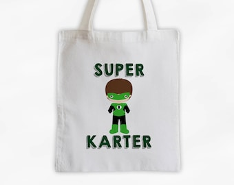 Superhero Canvas Tote Bag - Green Super Kid Personalized Comic Book Travel Overnight Bag for Boys - Reusable Tote (3038)