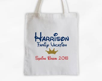 Vacation Bag with Crown Canvas Tote Bag - Custom Travel Bag for Family Vacation, Personalized Blue and Red Boys Reusable Tote (3002)