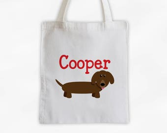 Dachshund Dog Personalized Cotton Canvas Tote Bag - Custom Puppy Tote, Kids Bag in Red  (3010)