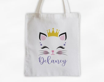 Kitty with Crown Personalized Canvas Tote Bag - Cute Animal Custom Travel Overnight Bag - Reusable Tote with Princess Cat Face