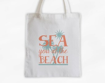 Sea You At The Beach Cotton Canvas Tote Bag with Palm Trees - Beach Vacation Travel Bag in Coral and Sea Green (3017)