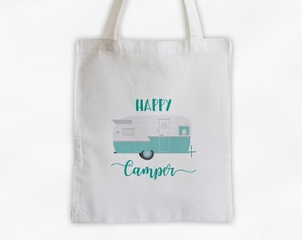 Happy Camper Personalized Canvas Tote Bag in Light Teal - Vintage RV Camping Custom Travel Overnight Bag - Reusable Tote