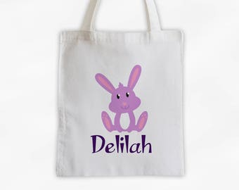 Personalized Bunny Canvas Tote Bag - Forest Animal Custom Travel Overnight Bag - Reusable Tote with Bunny (3042)