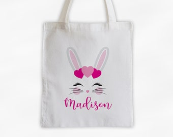 Bunny with Hearts Personalized Canvas Tote Bag - Cute Animal Custom Travel Overnight Bag - Reusable Tote with Rabbit