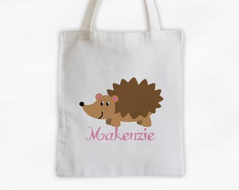 Personalized Hedgehog Canvas Tote Bag - Forest Animal Custom Travel Overnight Bag for Boys or Girls - Reusable Tote (3042)
