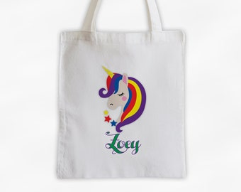 Unicorn with Rainbow Hair Personalized Canvas Tote Bag - Bright Custom Travel Overnight Bag - Girls Reusable Tote Bag