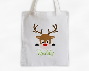 Red Nosed Reindeer Personalized Canvas Tote Bag - Cute Christmas Animal Custom Holiday Travel Overnight Bag - Reusable Tote