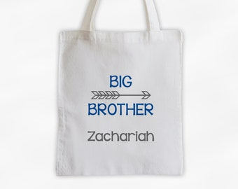 Big Brother Arrow Cotton Canvas Personalized Tote Bag for Siblings - Custom Gift in Blue and Gray