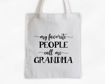 Favorite People Call Me Grandma Cotton Canvas Tote Bag - Custom Gift in Black and White - Personalize for Mother, Aunt, Grandparents (3037)