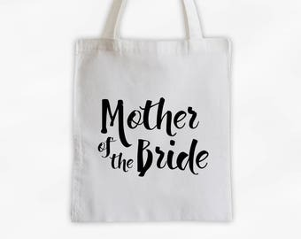 Mother of the Bride Cotton Canvas Tote Bag - Custom Wedding Party Gift, Wedding Day Kit Bag, Bridal Party Family Attendant Tote (3001)
