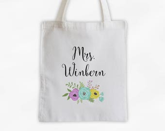 Mrs Antique Flowers Cotton Canvas Personalized Tote Bag - Custom Gift for Bride to Be, Teacher - Purple, Yellow and Aqua (3003)
